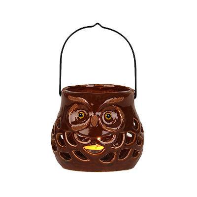 Brown Ceramic Fall Owl Lantern