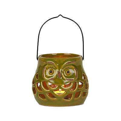 Green Ceramic Fall Owl Lantern