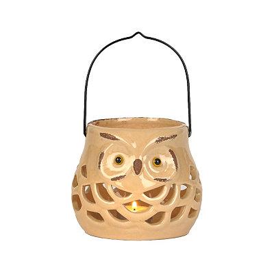 Ivory Ceramic Fall Owl Lantern