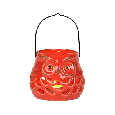 Red Ceramic Fall Owl Lantern