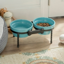 Turquoise Pet Bowls with Metal Bone Stand