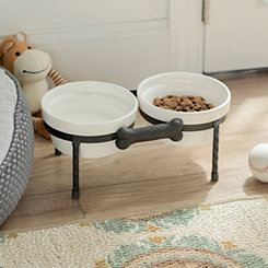 White Pet Bowls with Metal Bone Stand