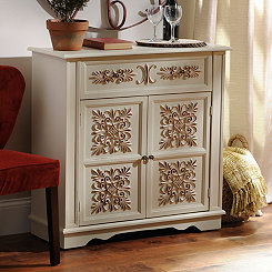 Ivory Cathedral Scroll Cabinet