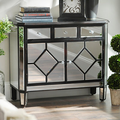 Distressed Cherry Mirrored Cabinet