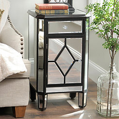 Small Distressed Cherry Mirrored Cabinet