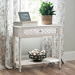 Distressed White Lattice Console Table