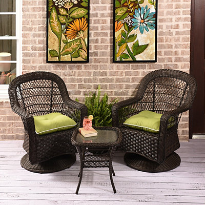 Savannah Brown Wicker 3-pc. Glider Set