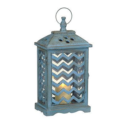 Turquoise Chevron Wood Lantern