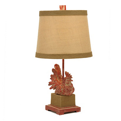 Red Rooster Table Lamp