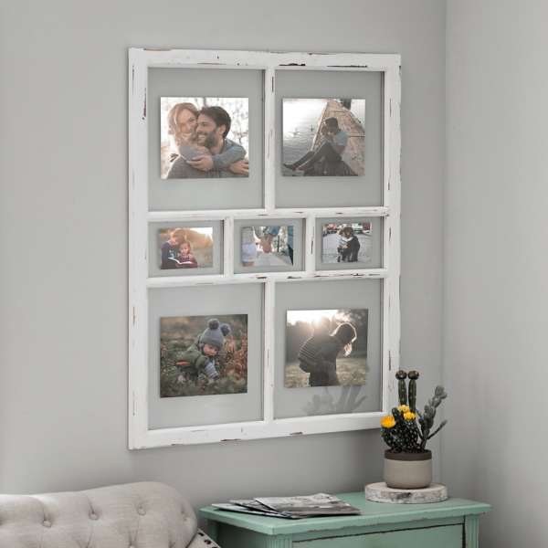 distressed white window pane collage frame - Collage Photo Frames