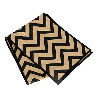 Black Chevron Burlap Table Runner