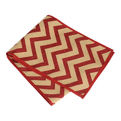 Red Chevron Burlap Table Runner