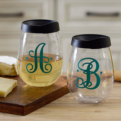 Monogram Stemless Acrylic Wine Glasses