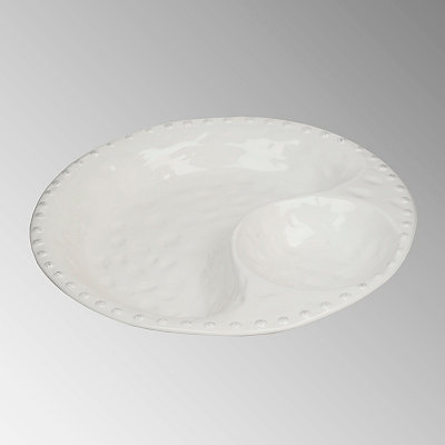 Hammered White Chip and Dip Bowl