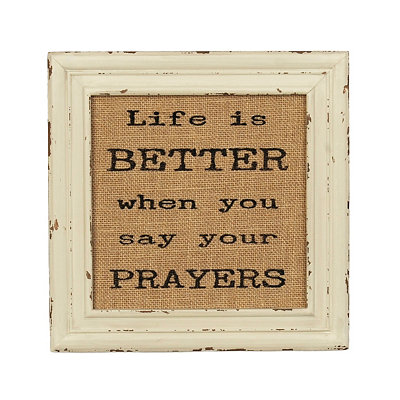Say Your Prayers Burlap Plaque