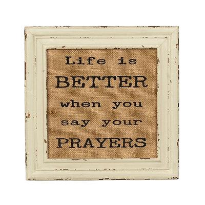 Say Your Prayers Burlap Plaque