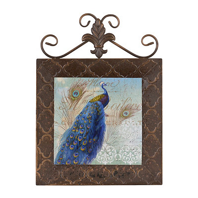 Blue Peacocks I Framed Plaque