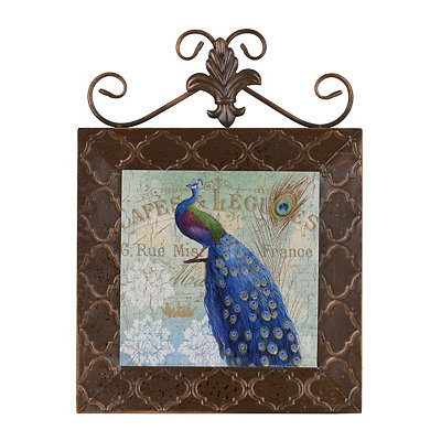 Blue Peacocks II Framed Plaque