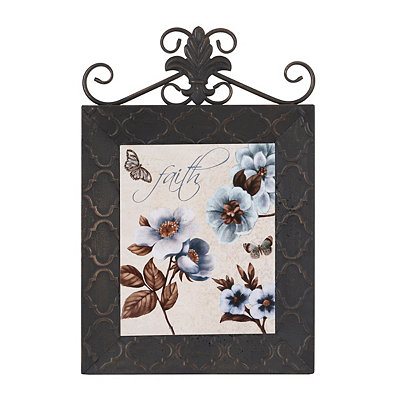 Blue & Brown Floral I Framed Plaque
