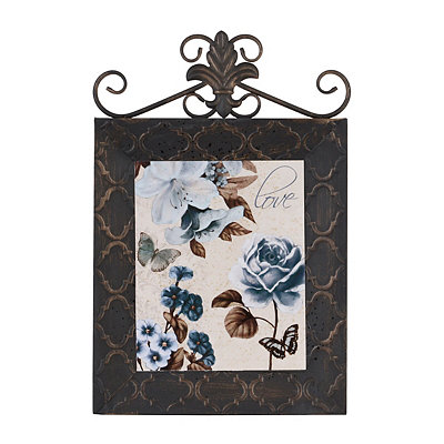 Blue & Brown Floral II Framed Plaque