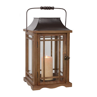 Natural Wood and Bronze Lantern