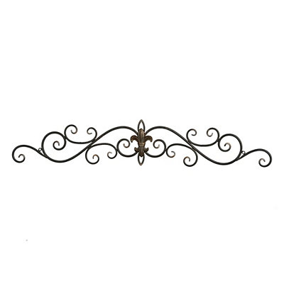 Distressed Black Fleur-de-Lis Metal Plaque
