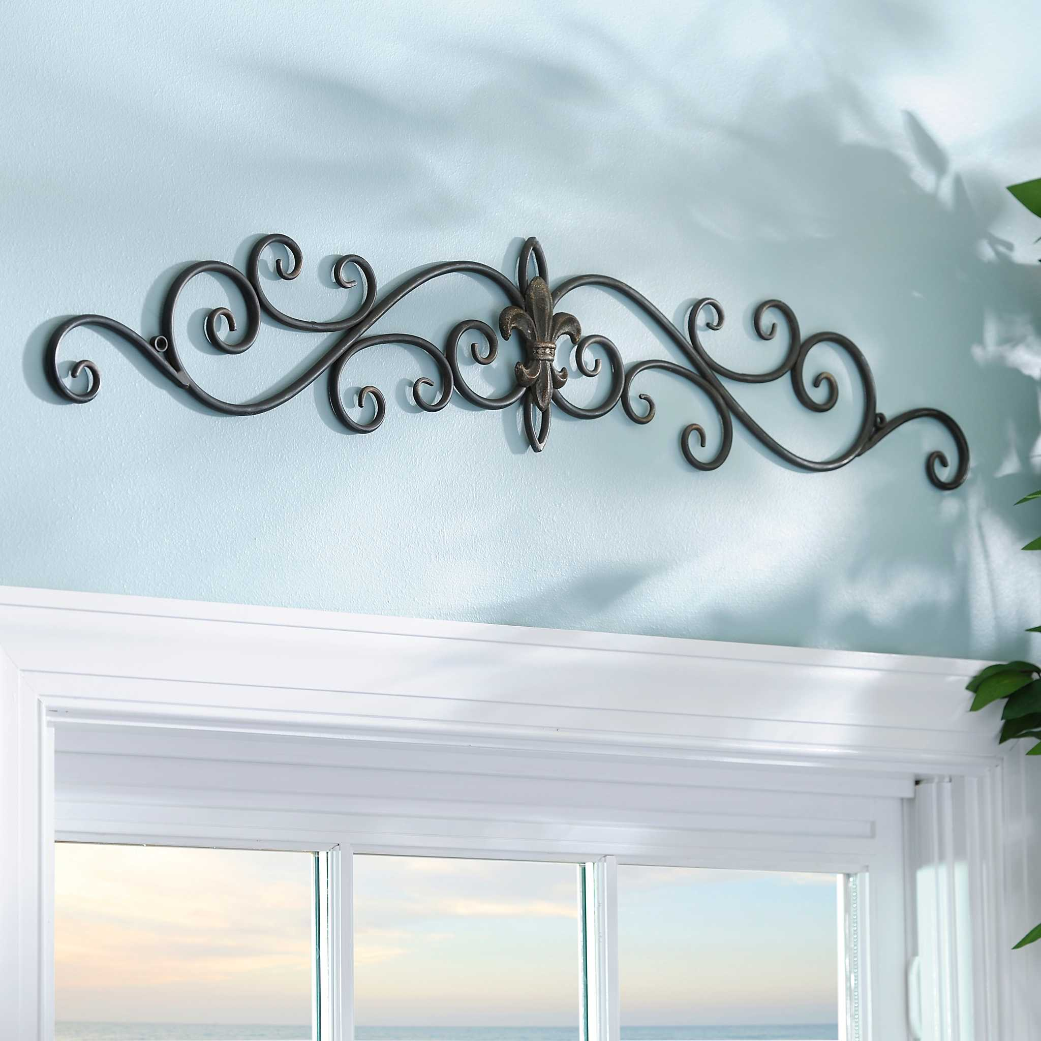 distressed black fleur de lis metal plaque kirklands. Black Bedroom Furniture Sets. Home Design Ideas