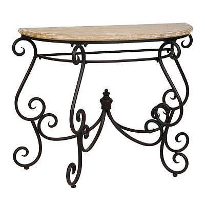 Wood & Metal Demilune Console Table