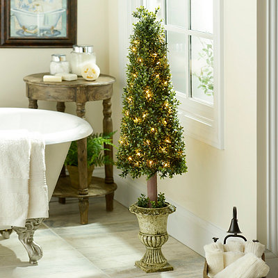 Pre-Lit Boxwood Cone Topiary, 46 in.