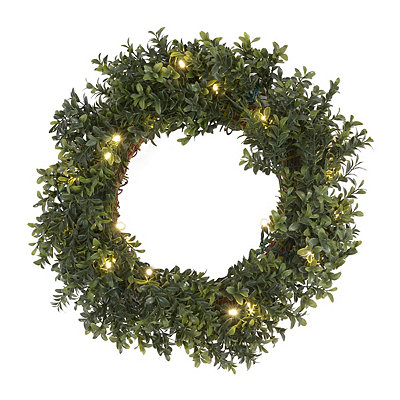 Pre-Lit Boxwood Wreath, 18 in.