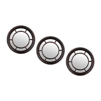 Distressed Black Paned Mirrors, Set of 3