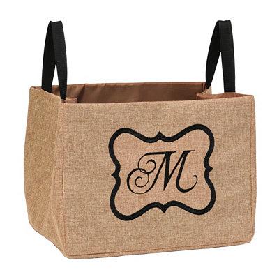Burlap Monogram M Storage Bin