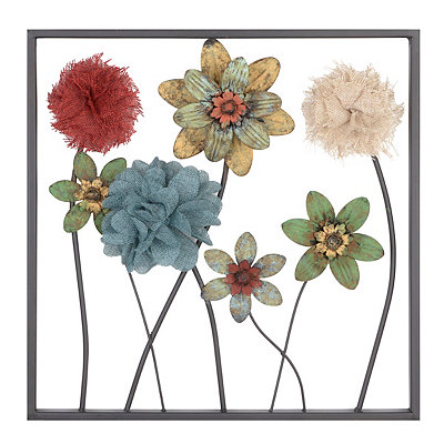 Burlap Flowers I Plaque