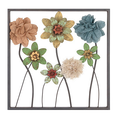 Burlap Flowers III Plaque