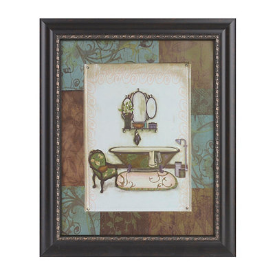 Blue & Brown Floral Bath I Framed Art Print