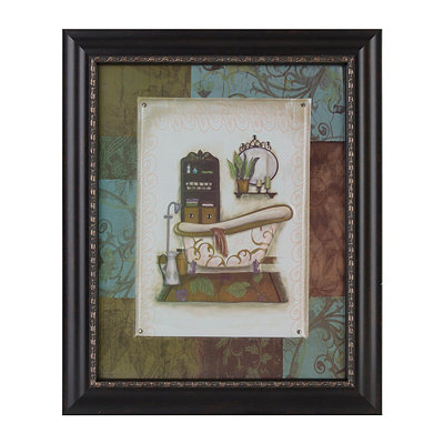 Blue & Brown Floral Bath II Framed Art Print