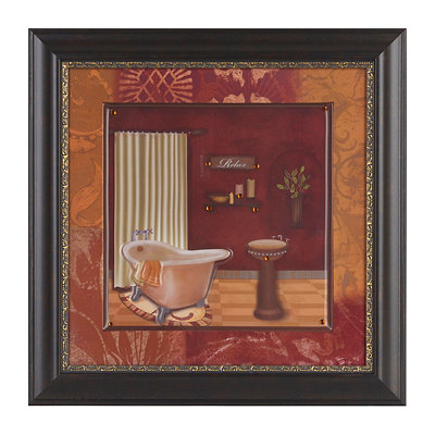 Red Luxe Bathroom I Framed Art Print