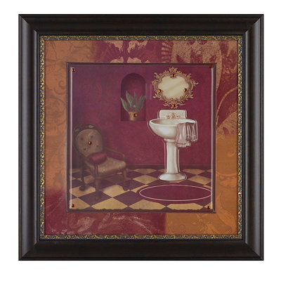 Red Luxe Bathroom II Framed Art Print