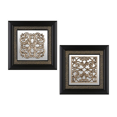 Noir Medallion Shadowboxes, Set of 2