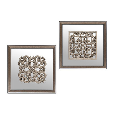 Silver Medallion Mirrored Shadowbox, Set of 2