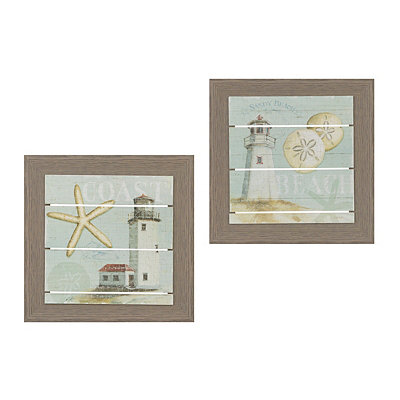 Beach House Framed Art Prints, Set of 2