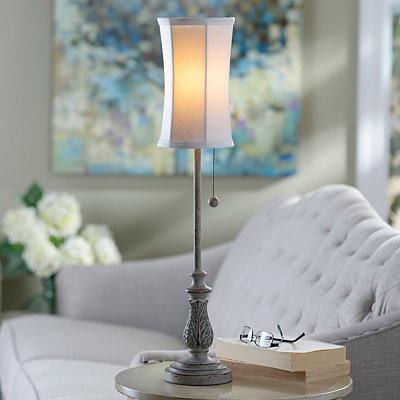 Gray Candlestick Buffet Lamp