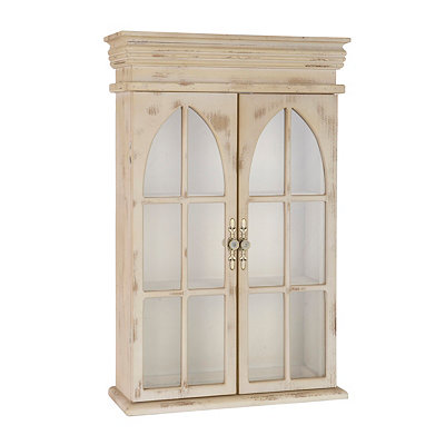 Darlene Distressed Cream Wall Cabinet