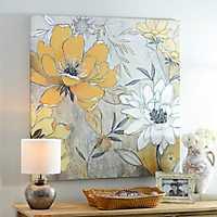 Vintage Yellow & Gray Floral Canvas Art Print