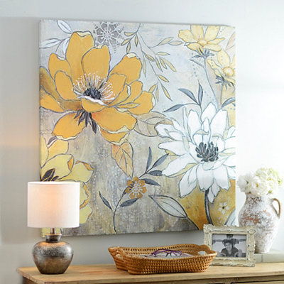 Vintage Yellow & Gray Floral Canvas Art Print