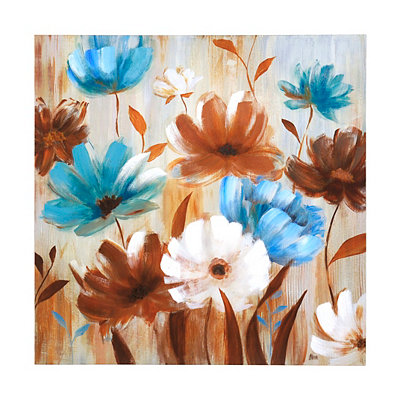 Blue & Brown Floral Canvas Art Print