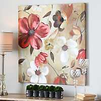Red & White Floral Canvas Art Print