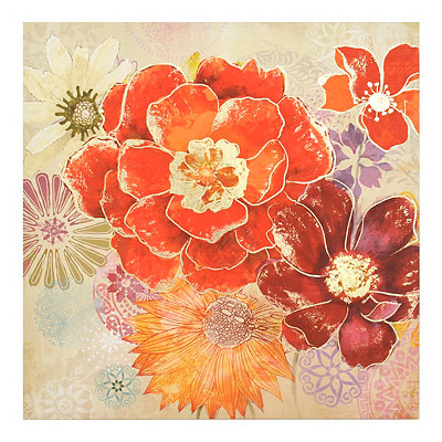 Retro Red Poppies Canvas Art Print