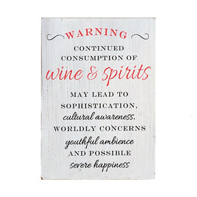 Warning Wine Night Wooden Plaque