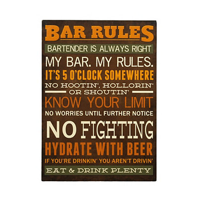 Bar Rules Wooden Sign